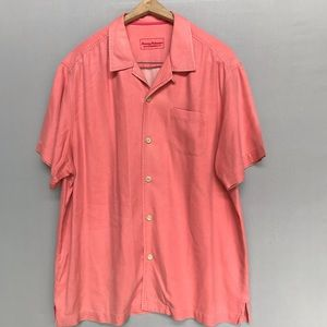 Tommy Bahama Red 100% Silk Button Down Shirt XL